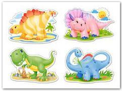 Puzzle x 4 - Baby Dinosaurs CASTOR