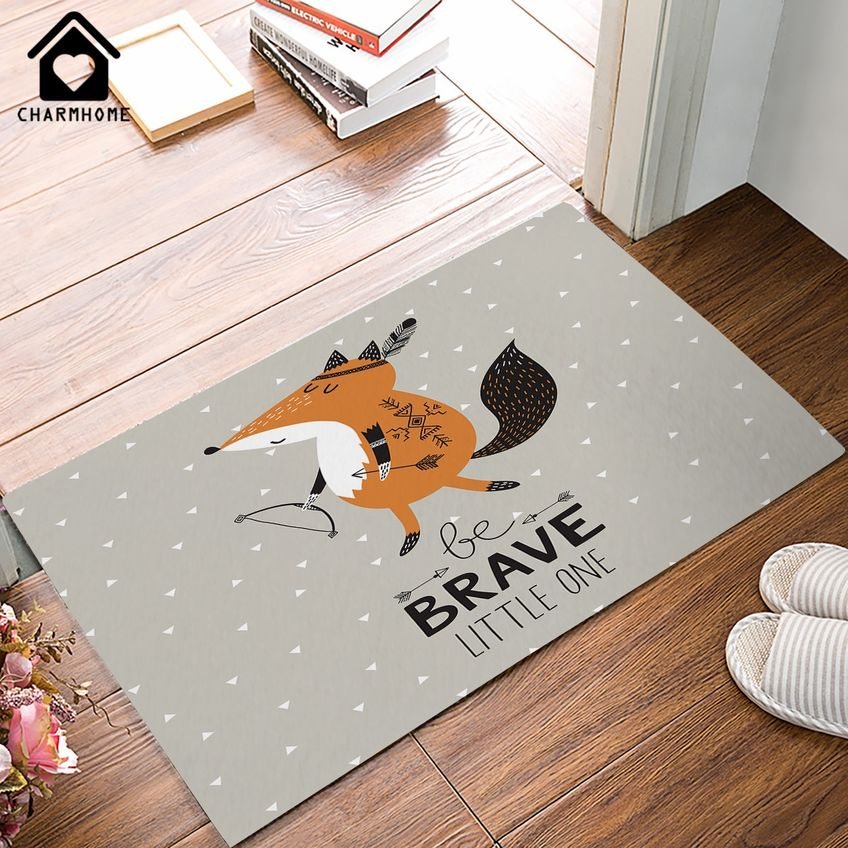 Welcome Cartoon Fox Doormat