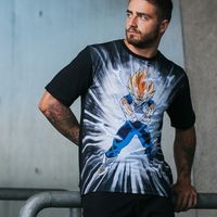 VEGETA DRAGON BALL Z SUPER SAIYAN ATTACK TEE BLACK